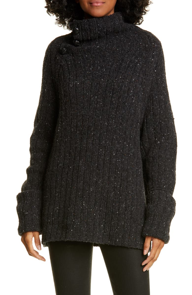 RAG & BONE Klark Ribbed Wool Blend Mock Neck Sweater, Main, color, CHARC