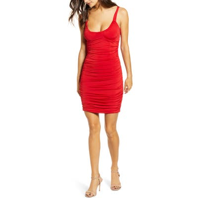 Tiger Mist Luca Ruched Body-Con Minidress, Red