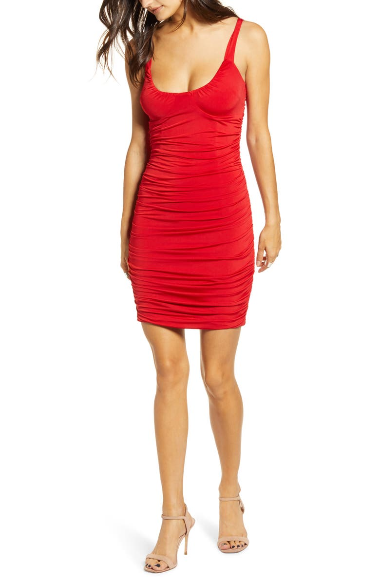 TIGER MIST Luca Ruched Body-Con Minidress, Main, color, 600