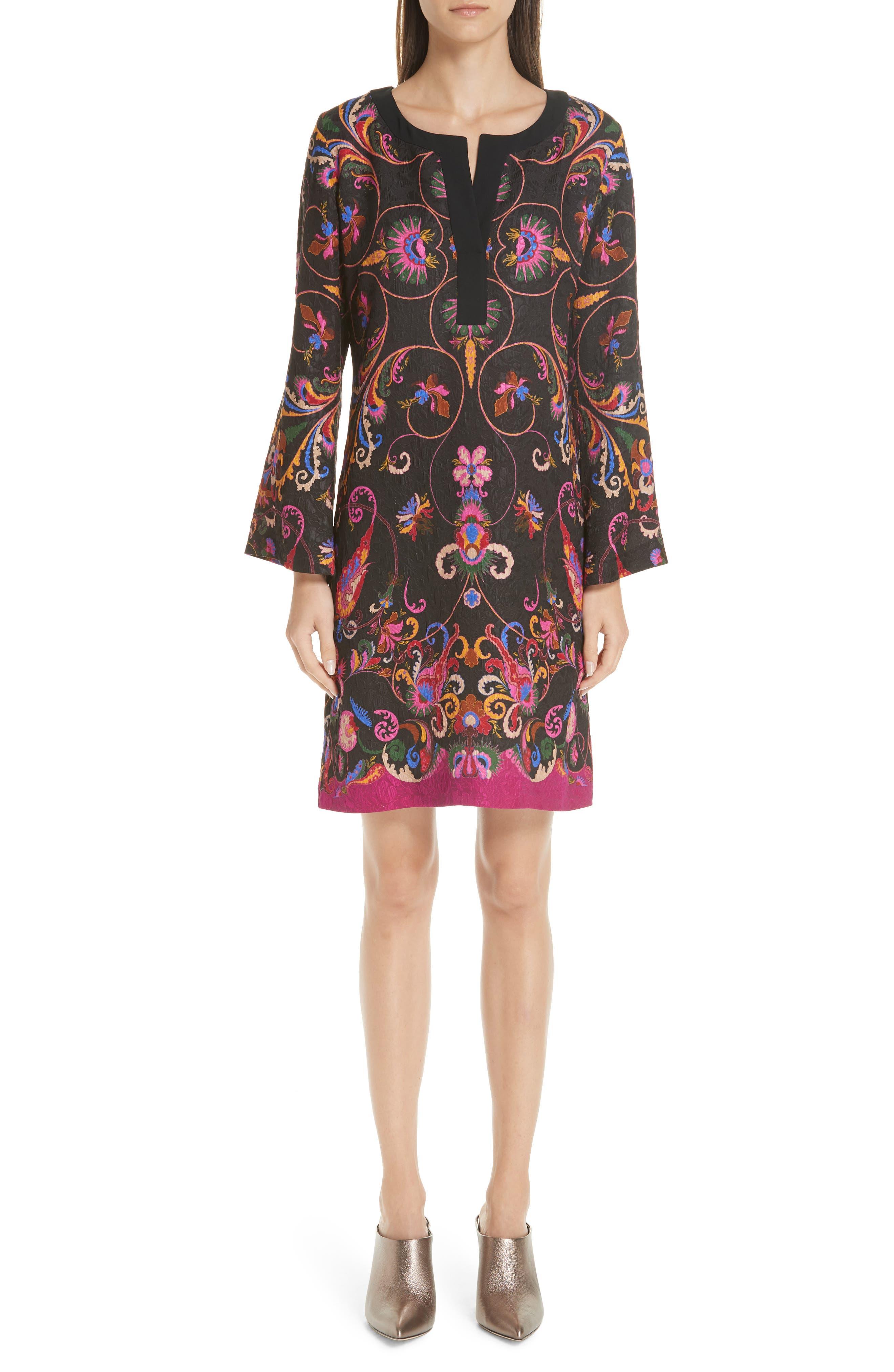 Etro Paisley Print Brocade Sheath Dress