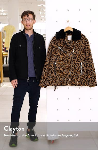 Faux Leopard Fur Jacket with Faux Shearling Collar, sales video thumbnail