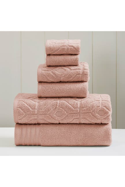 Image of Modern Threads Yarn Dyed Diamond Gate 6-Piece Towel Set - Dusty Rose