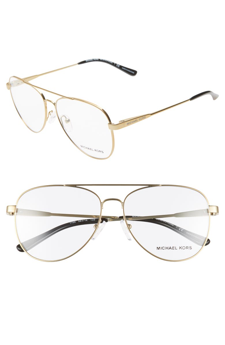 MICHAEL KORS 56mm Aviator Optical Glasses, Main, color, 710