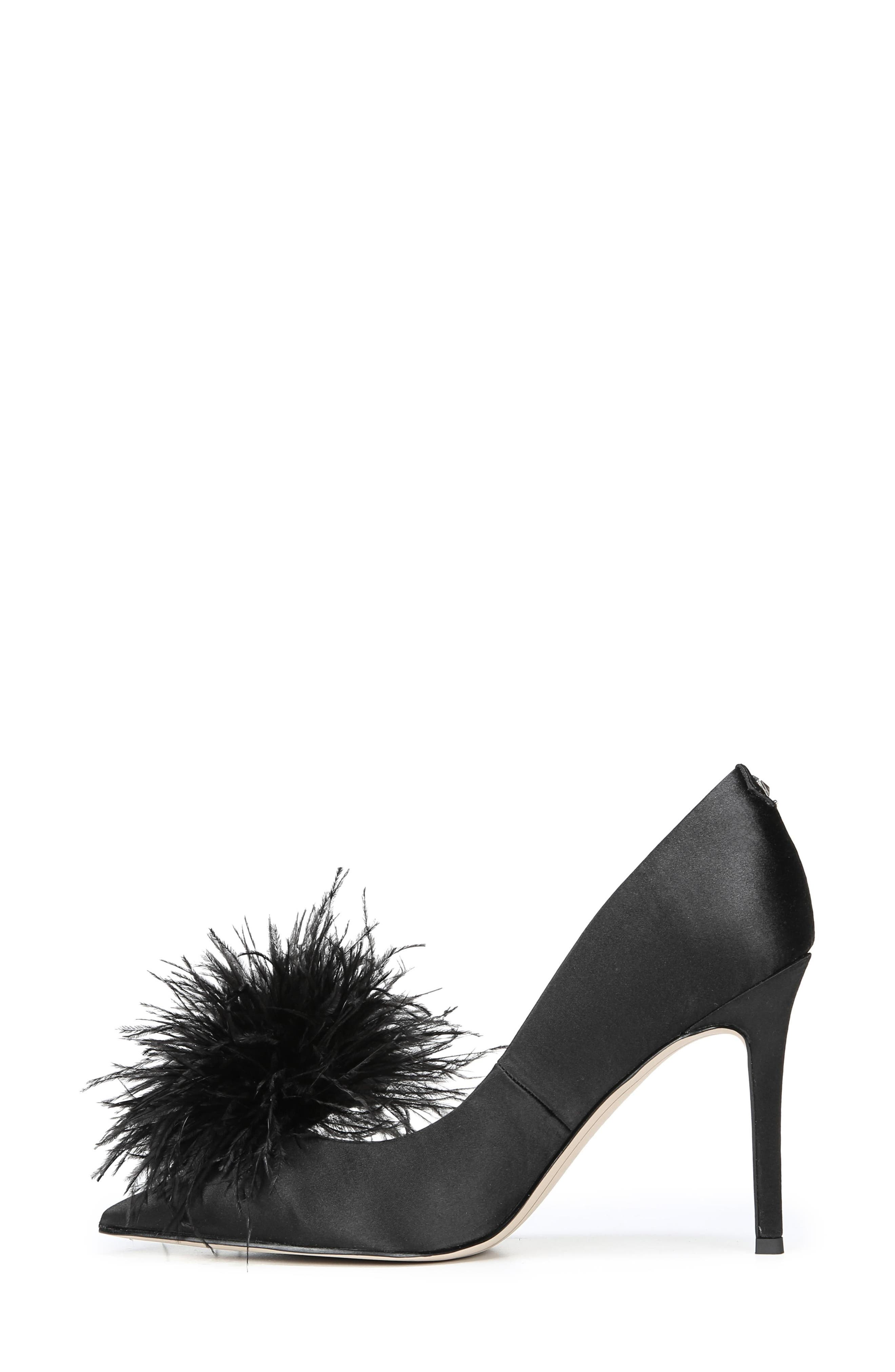,                             Haide Feather Genuine Calf Hair Pompom Pump,                             Alternate thumbnail 3, color,                             001