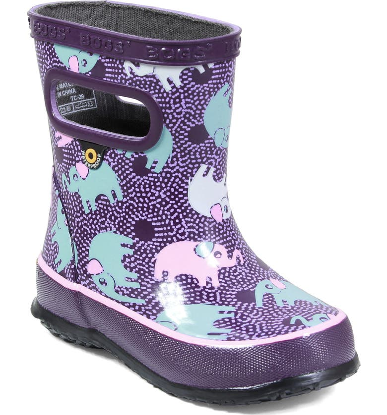 BOGS Skipper Elephant Print Rubber Waterproof Rain Boot, Main, color, PURPLE MULTI