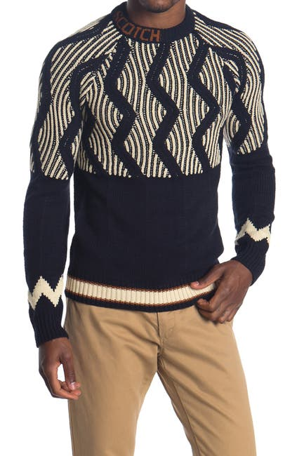 Image of Scotch & Soda Mixed Pattern Crew Neck Sweater