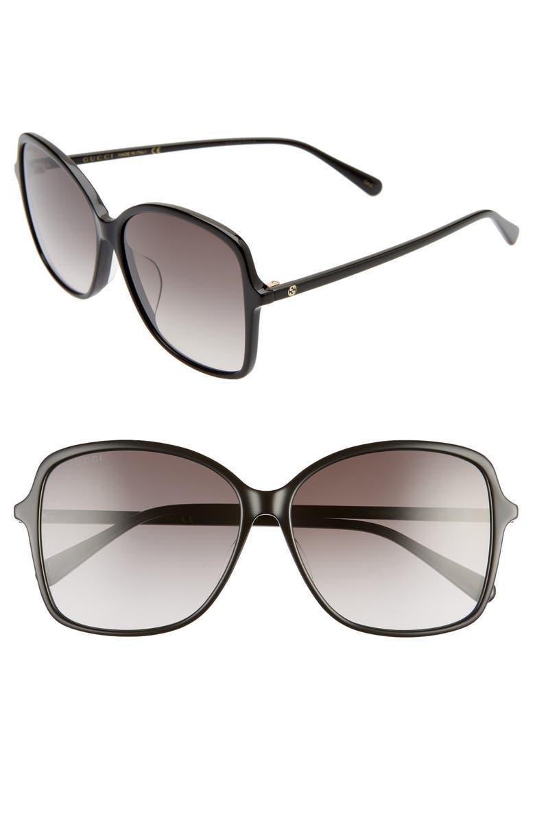 GUCCI 60mm Rectangular Sunglasses, Main, color, BLACK/ GREY GRADIENT