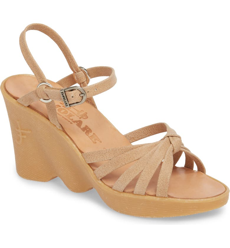 FAMOLARE Knotty Monkey Wedge Sandal, Main, color, NUDE LEATHER