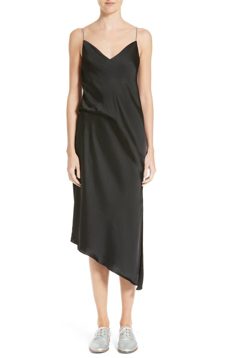 RAG & BONE Anna Satin Slip Dress, Main, color, 001