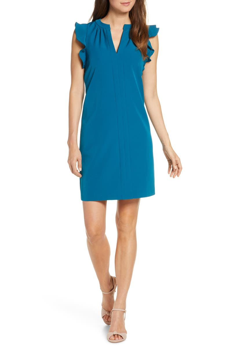 VINCE CAMUTO Flutter Sleeve Sheath Dress, Main, color, DARK TEAL