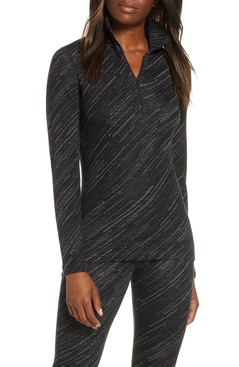ICEBREAKER 250 Vertex Merino Wool Half Zip Base Layer Top, Main, color, BLACK