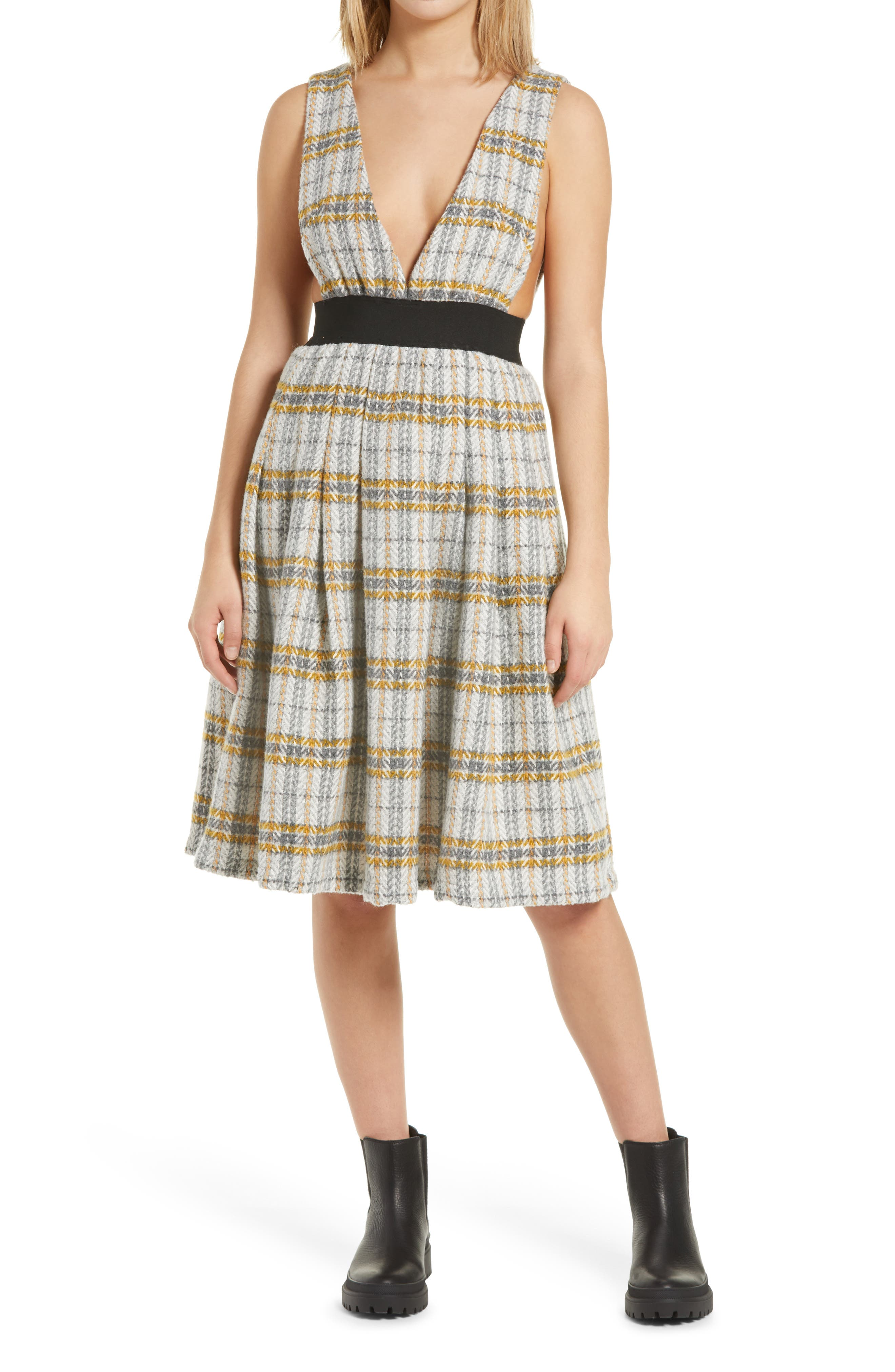 What Did Women Wear in the 1950s? 1950s Fashion Guide Womens Amy Lynn Aurelia Plaid Pinafore Dress Size Small - Yellow $111.00 AT vintagedancer.com