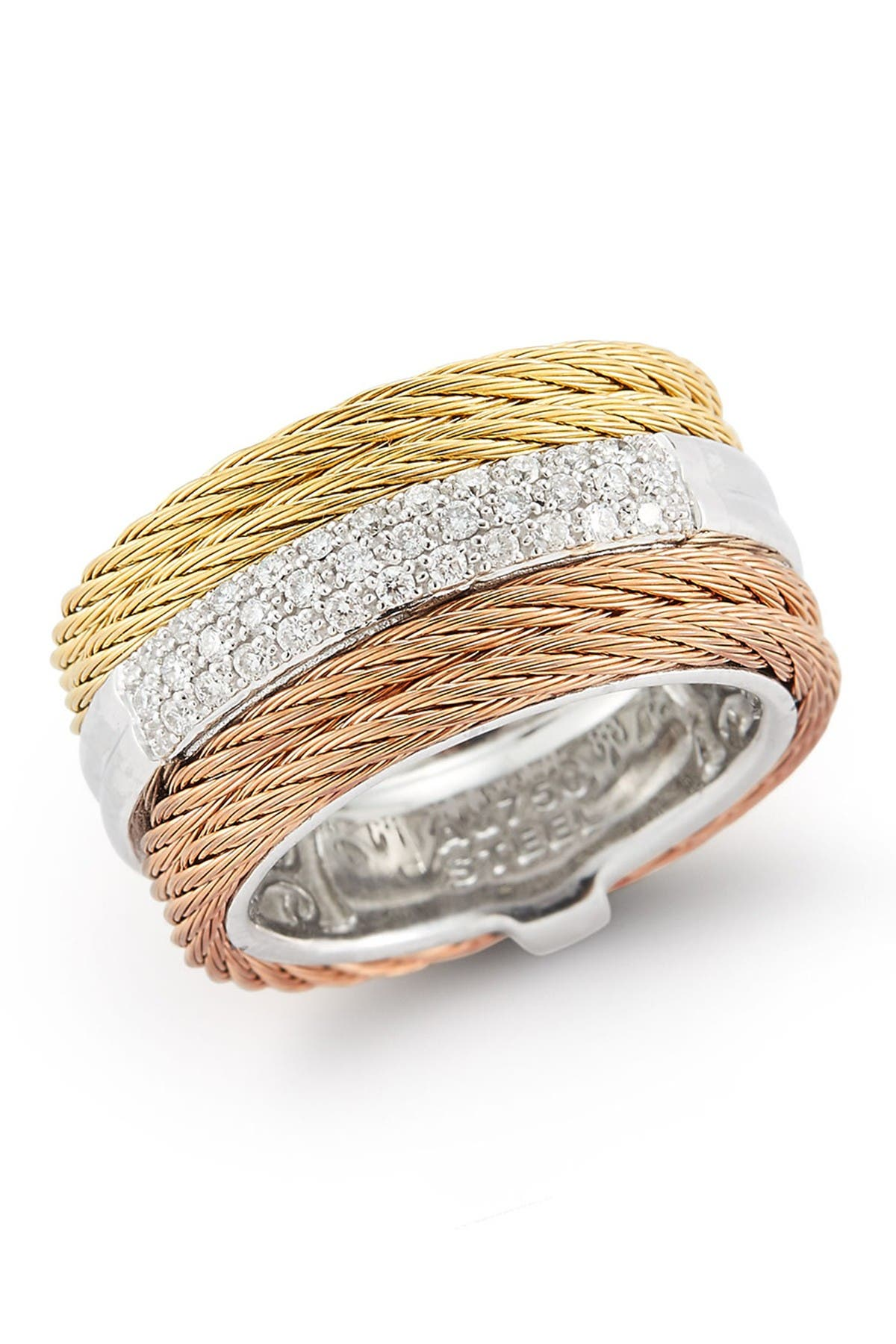 Image of ALOR Tri-Tone Cable & Diamond Band Ring - Size 7 - 0.28 ctw