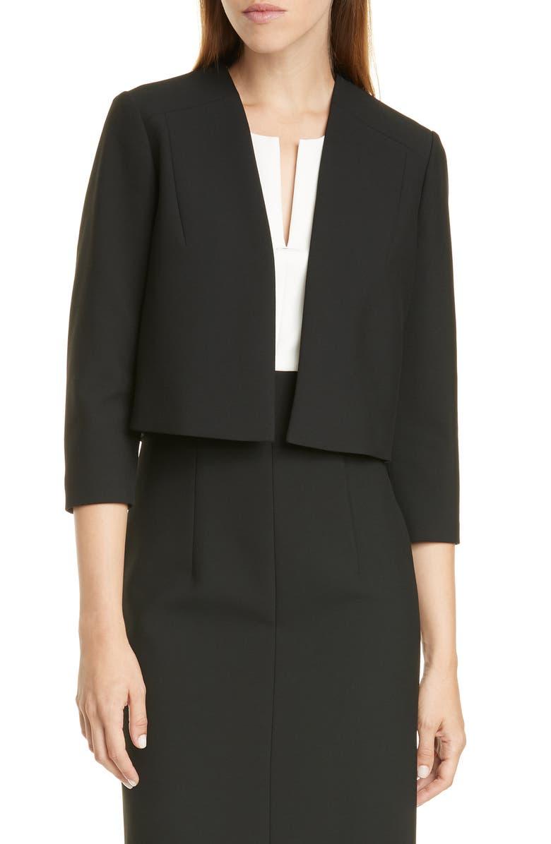 BOSS Jikiva Collarless Ponte Crop Jacket, Main, color, BLACK