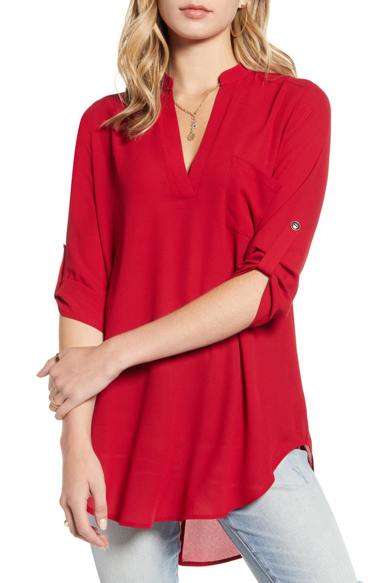 ALL IN FAVOR Perfect Henley Tunic, Main, color, JESTER RED
