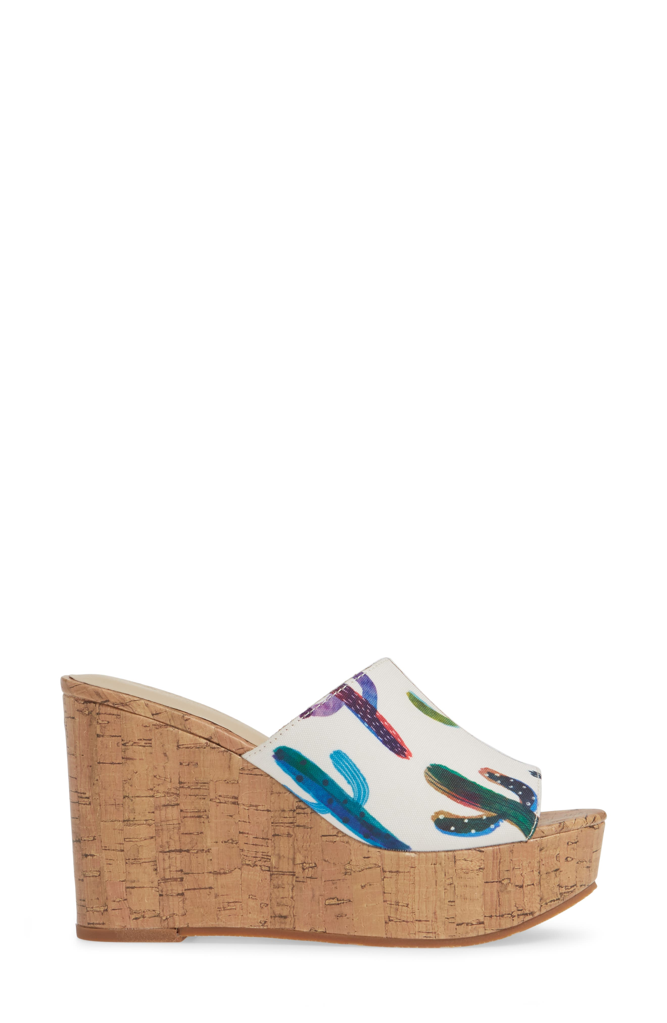 ,                             Layla Wedge Slide Sandal,                             Alternate thumbnail 3, color,                             CACTUS PRINT FABRIC