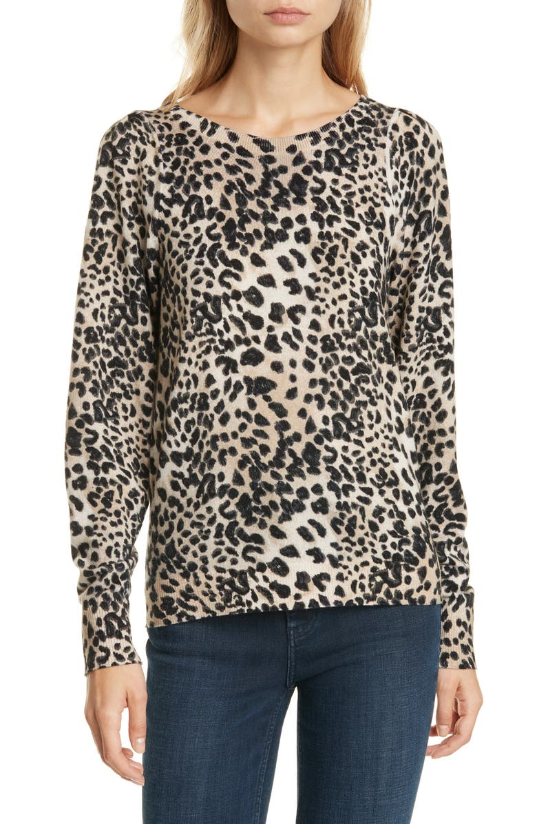 REBECCA TAYLOR Lynx Print Wool Sweater, Main, color, OAT COMBO
