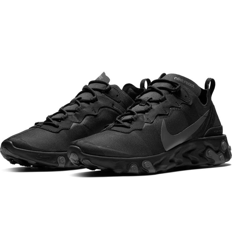 NIKE React Element 55 Sneaker, Main, color, BLACK/ DARK GREY