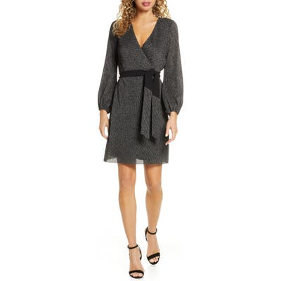 Sam Edelman Sparkle Long Sleeve Faux Wrap Dress, Black