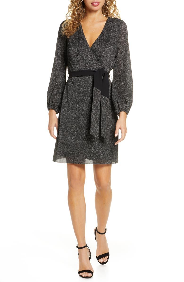 SAM EDELMAN Sparkle Long Sleeve Faux Wrap Dress, Main, color, BLACK