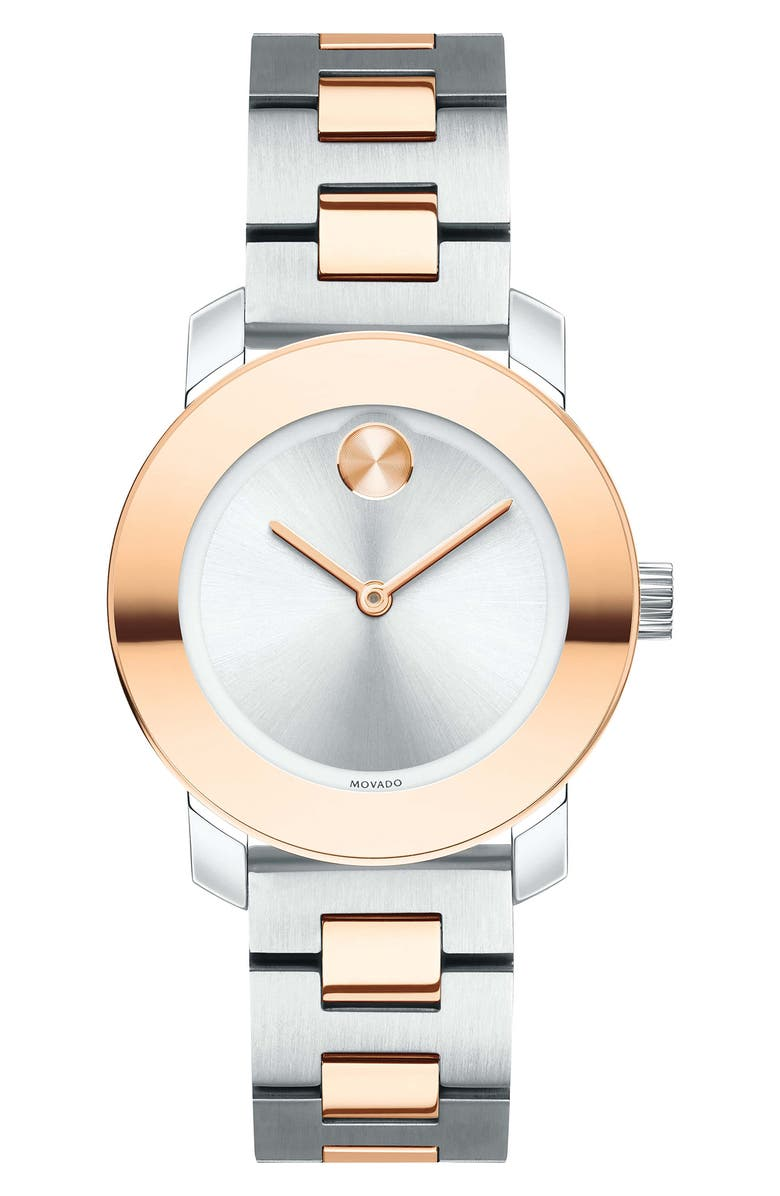 MOVADO Bold Bracelet Watch, 30mm, Main, color, SILVER/ ROSE GOLD