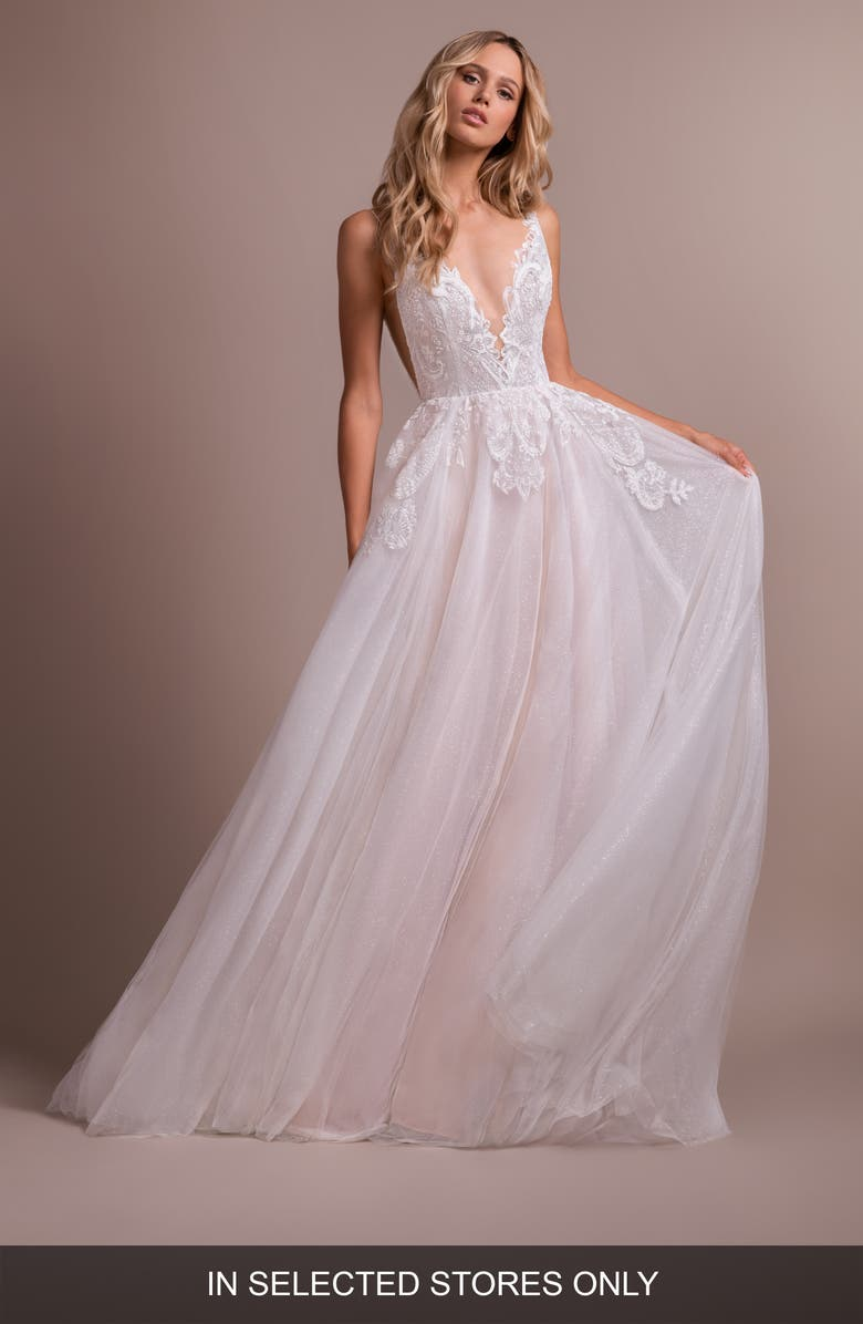 HAYLEY PAIGE Nash V-Neck Lace Wedding Dress, Main, color, IVORY