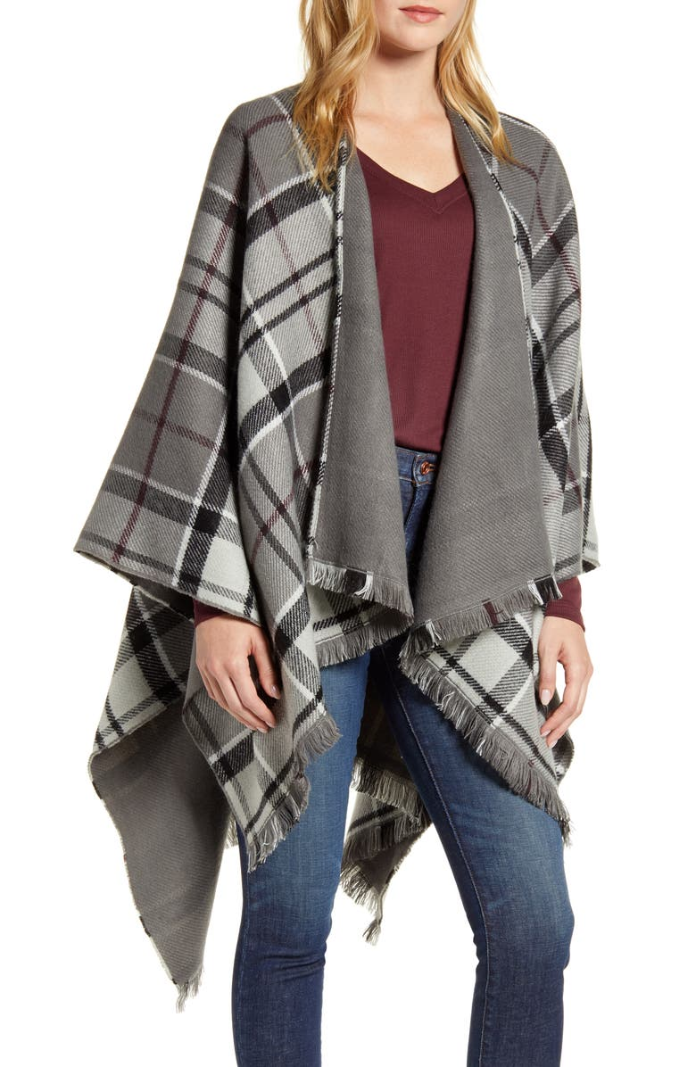 BARBOUR Lomand Tartan Double Face Serape Wrap, Main, color, GREY/ JUNIPER