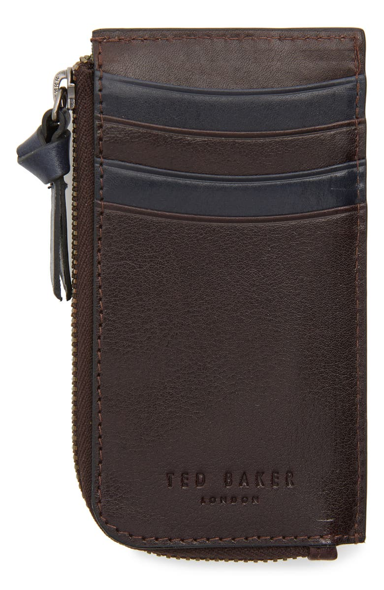 TED BAKER LONDON Bombay Leather Zip Card Holder, Main, color, CHOCOLATE