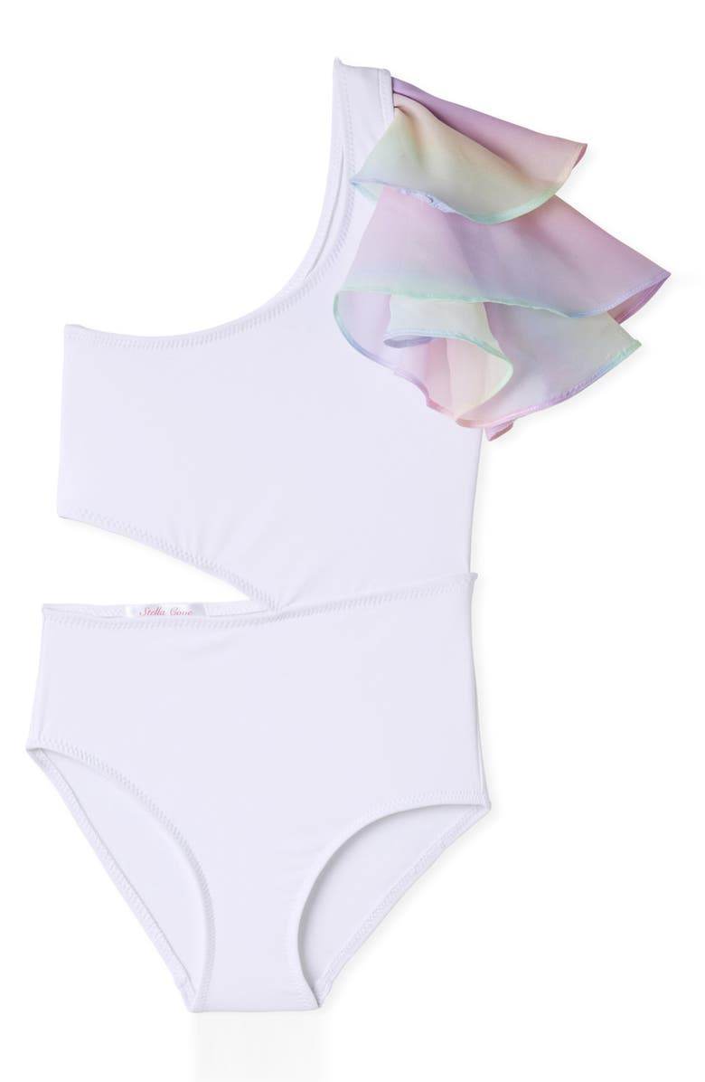 STELLA COVE Side Cutout Ruffle One-Shoulder One-Piece Swimsuit, Main, color, WHITE