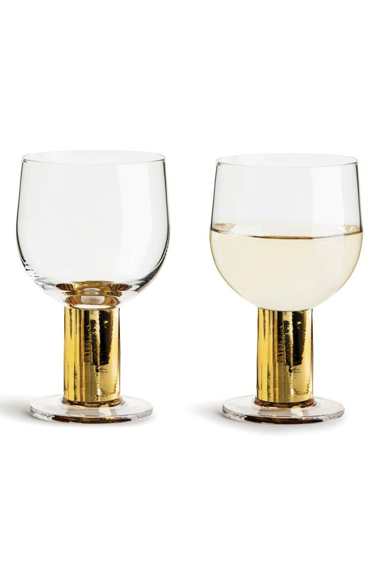 SAGAFORM Set of 2 Gold Glasses, Main, color, CLEAR/ GOLD