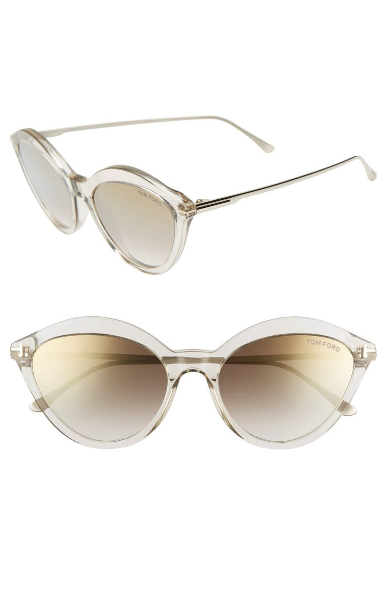 TOM FORD Chloe 57mm Cat Eye Sunglasses, Main, color, DOVE GREY/ GOLD/ BROWN W GOLD