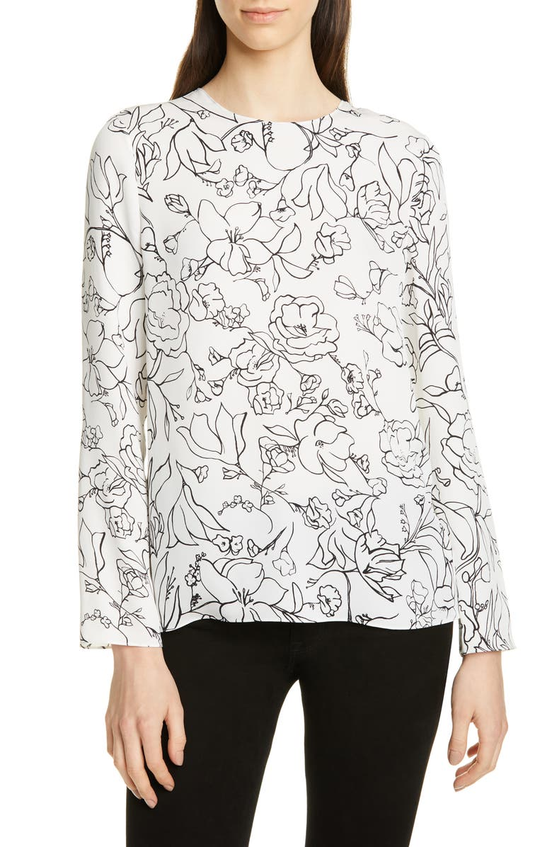 THEORY Print Silk Blouse, Main, color, MULTI