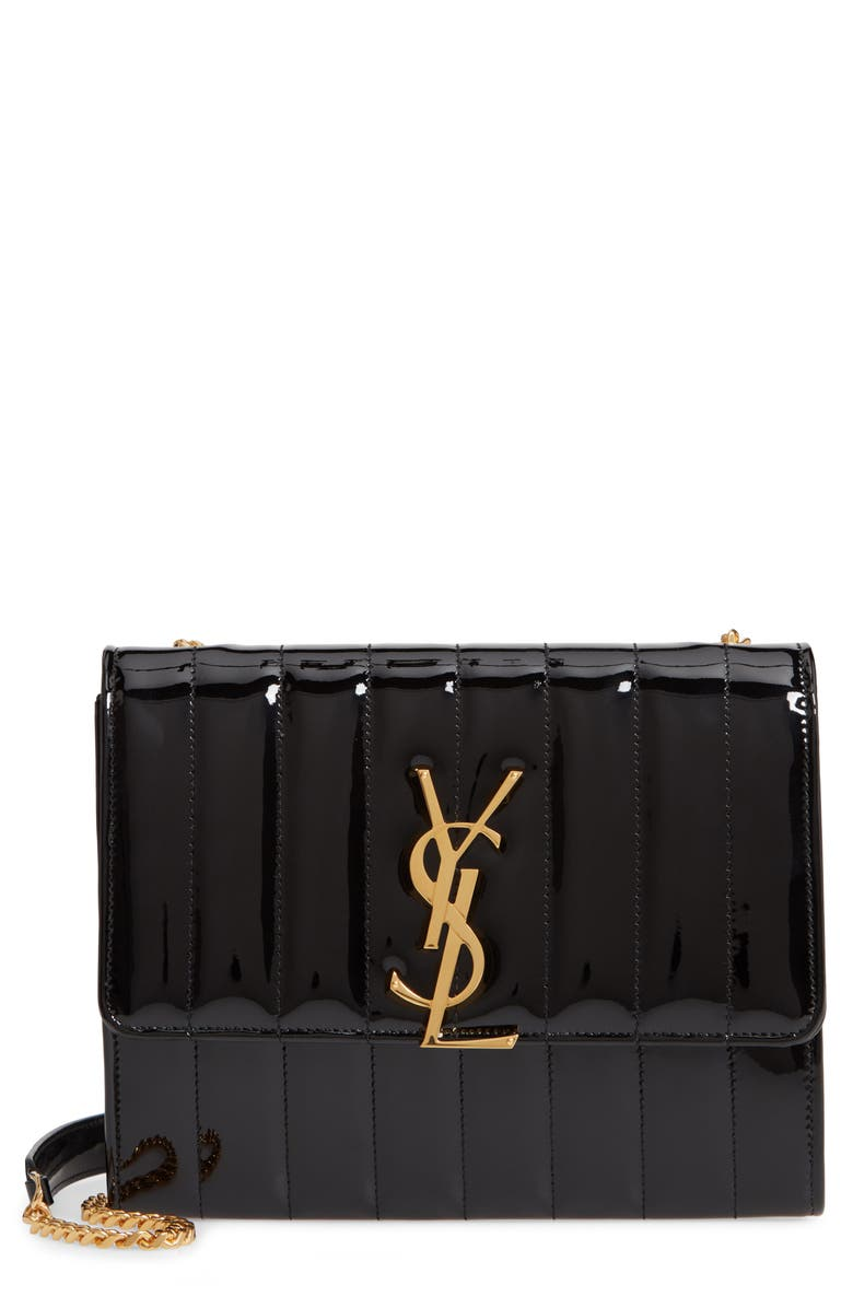 SAINT LAURENT Vicky Patent Leather Wallet on a Chain, Main, color, NOIR/ NOIR