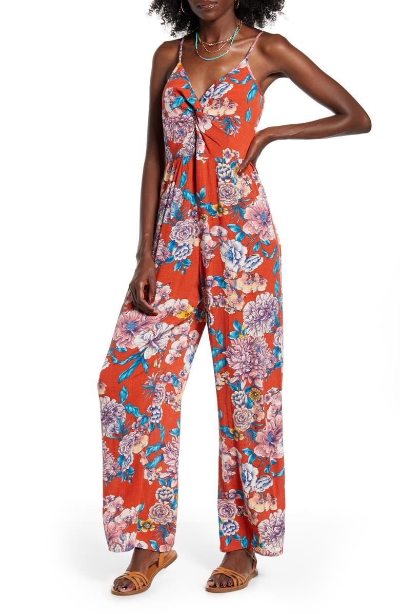 BAND OF GYPSIES Dahlia Print Jumpsuit, Main, color, RUST BLUSH