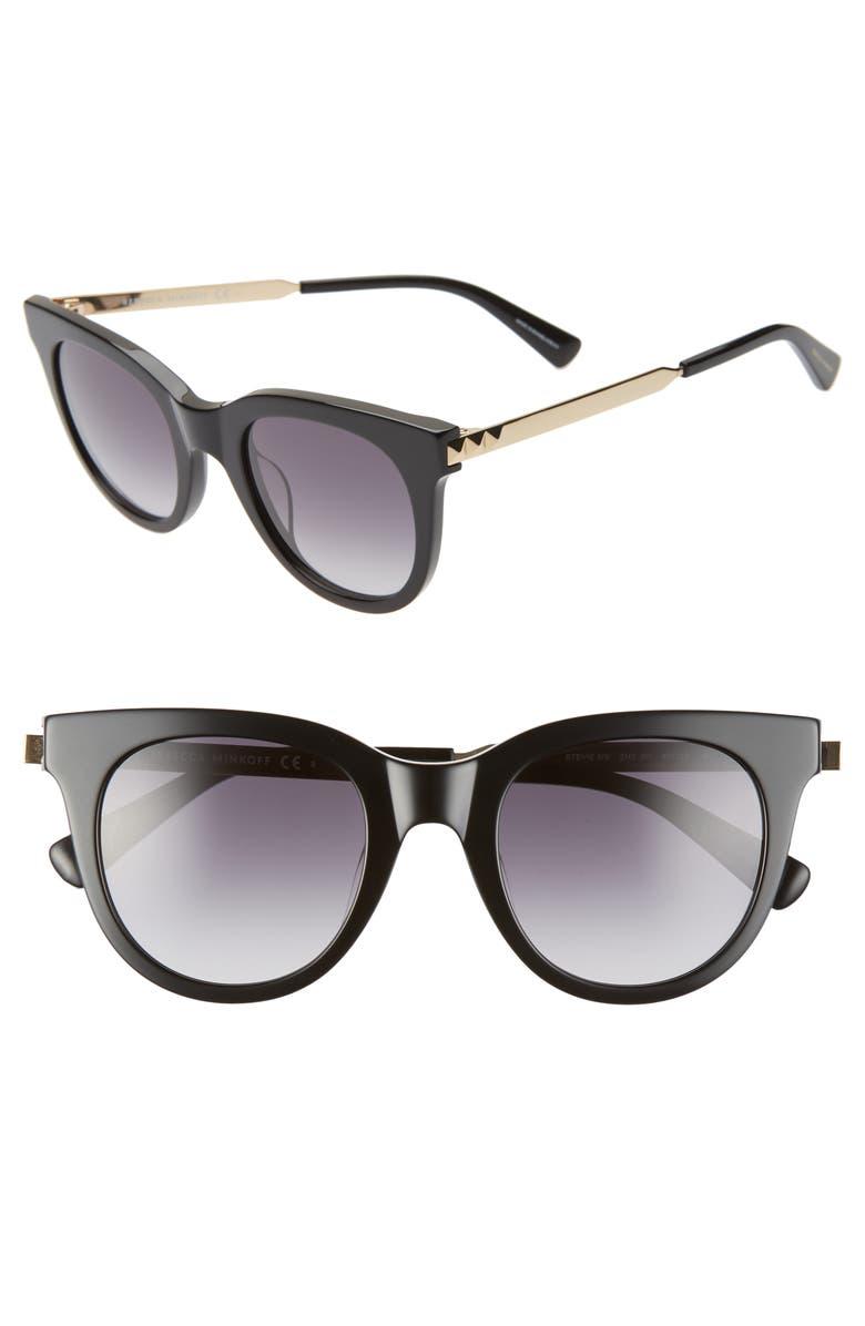 REBECCA MINKOFF Stevie 49mm Round Sunglasses, Main, color, BLACK GOLD/ DKGRAY GRADIENT