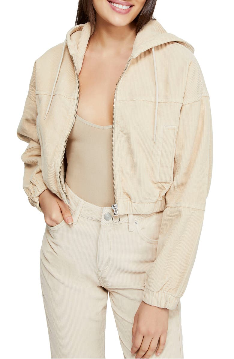 BDG Urban Outfitters Corduroy Crop Hooded Jacket, Main, color, IVORY