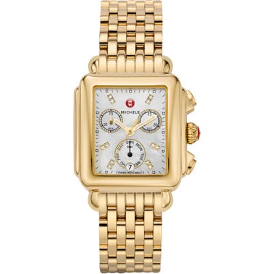 Michele Deco Diamond Dial Watch Head & Bracelet, 3m