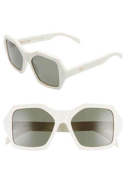 Celine Sunglasses 55MM SQUARE SUNGLASSES - WHITE/ GREEN