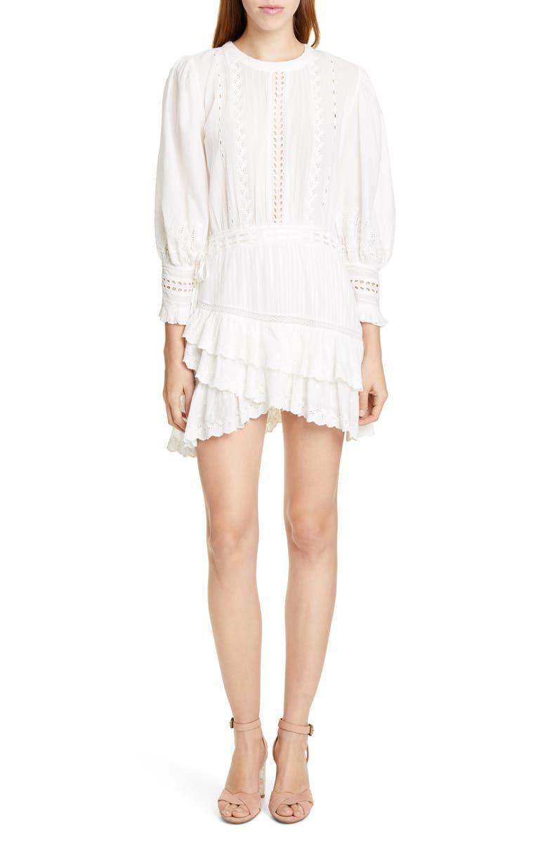 LOVESHACKFANCY Lorelei Ruffle Eyelet Cotton Minidress, Main, color, IVORY