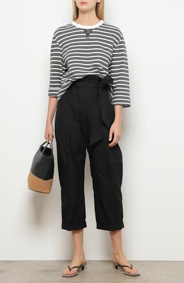 Paperbag Waist Crinkled Cotton Blend Ankle Pants, video thumbnail