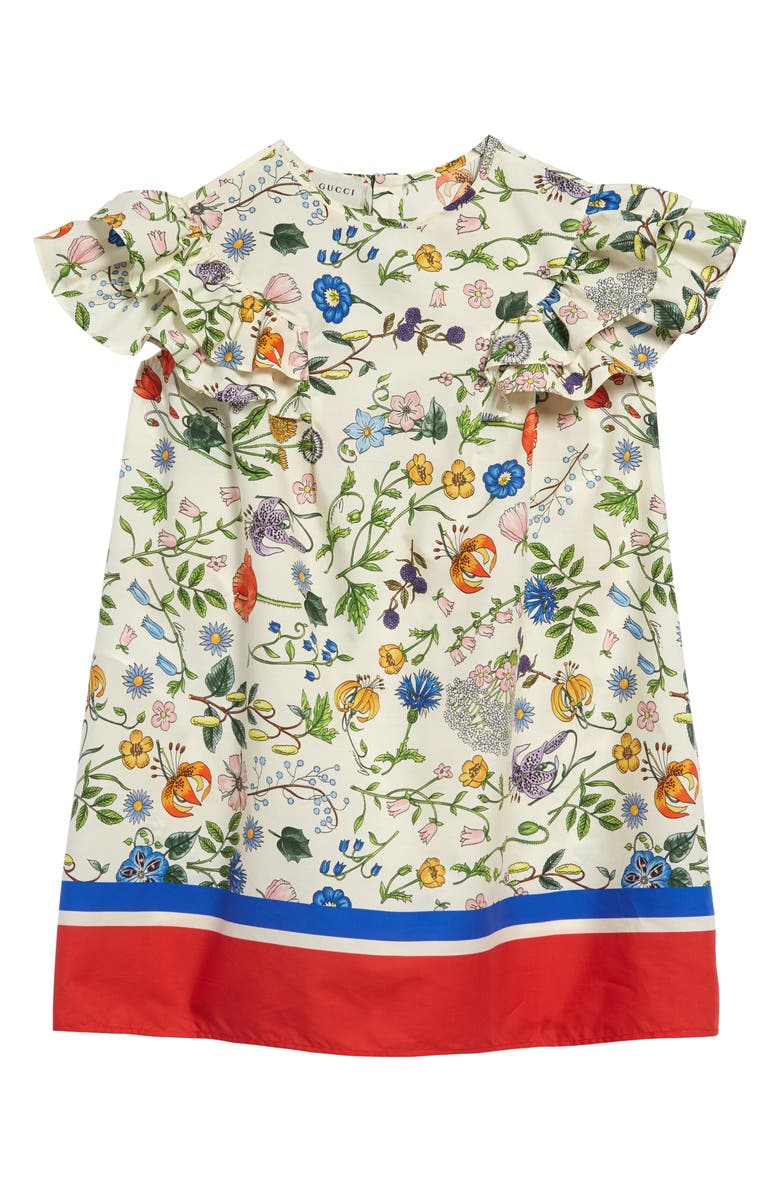 GUCCI Floral Flutter Sleeve Cotton Dress, Main, color, RICE CREAM/ RED PRINT