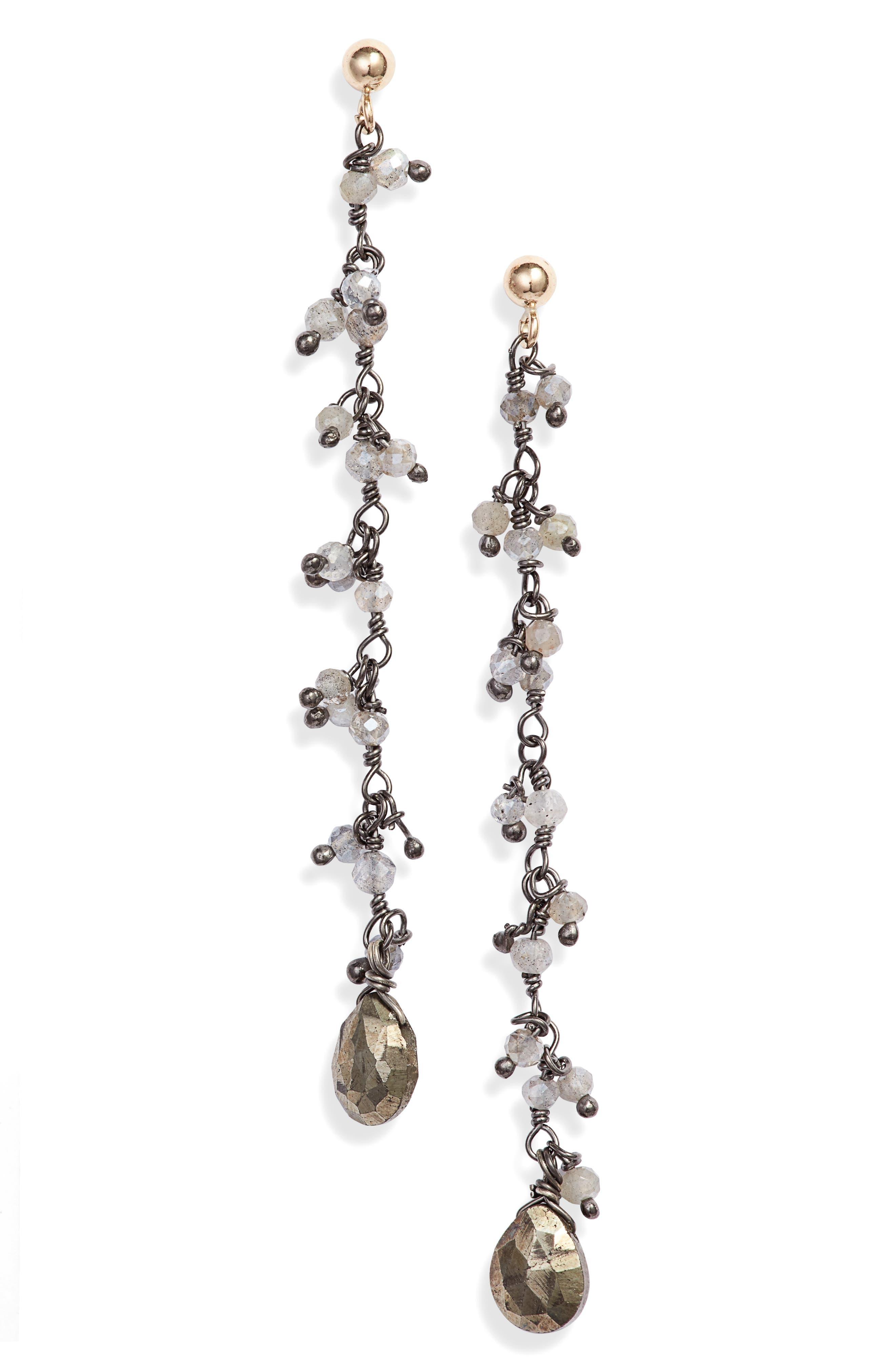 Semiprecious Stone Linear Drop Earrings