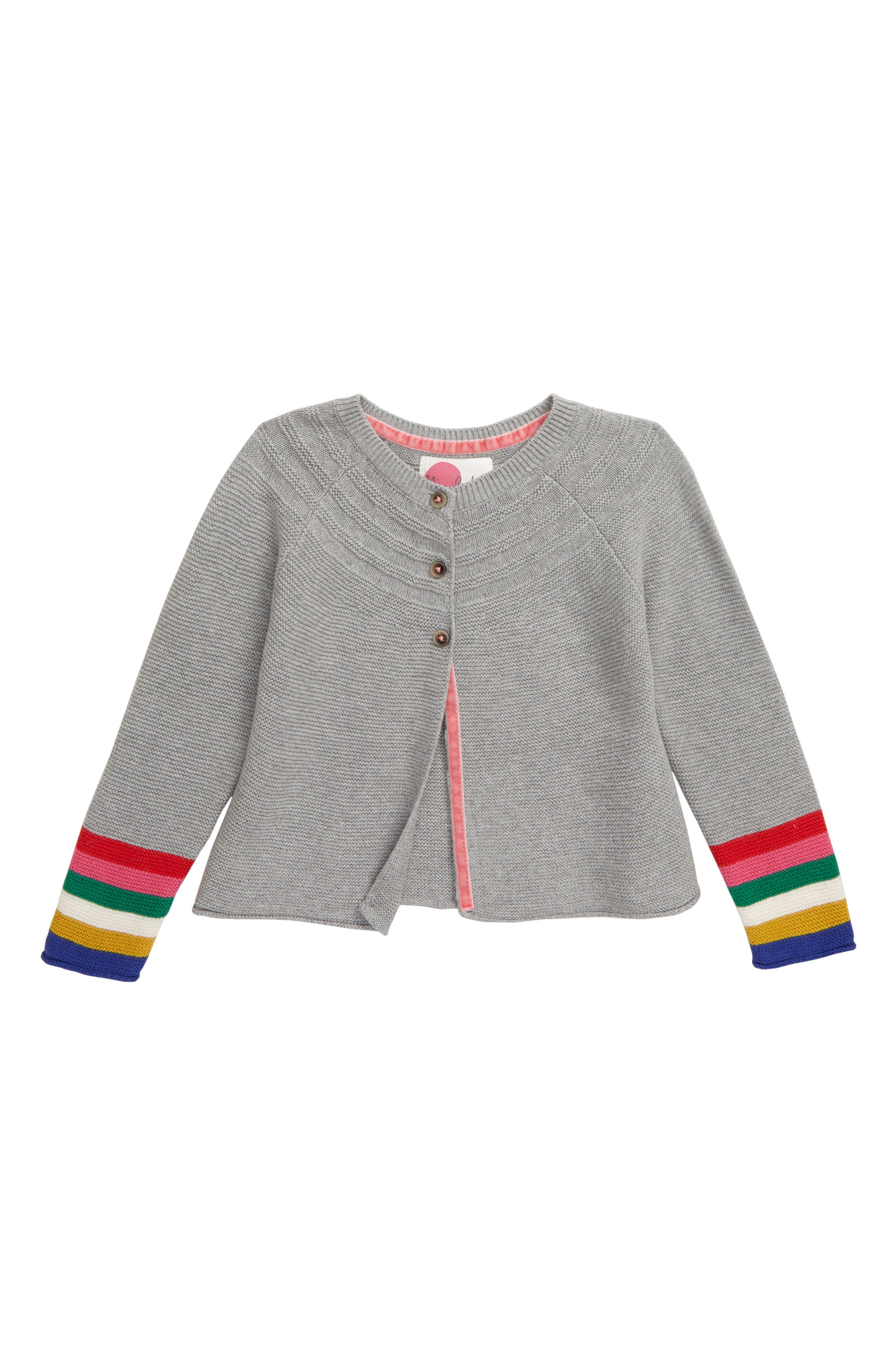 Mixed stitches bring eye-catching texture to a cute three-button cardigan knit from supersoft cotton yarn with a touch of cashmere. Style Name: Mini Boden Everyday Cardigan (Toddler Girls, Little Girls & Big Girls). Style Number: 5865769 3. Available in stores.