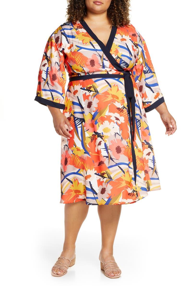 ELOQUII Floral Print Wrap Dress, Main, color, BRIGHT TURN AHEAD