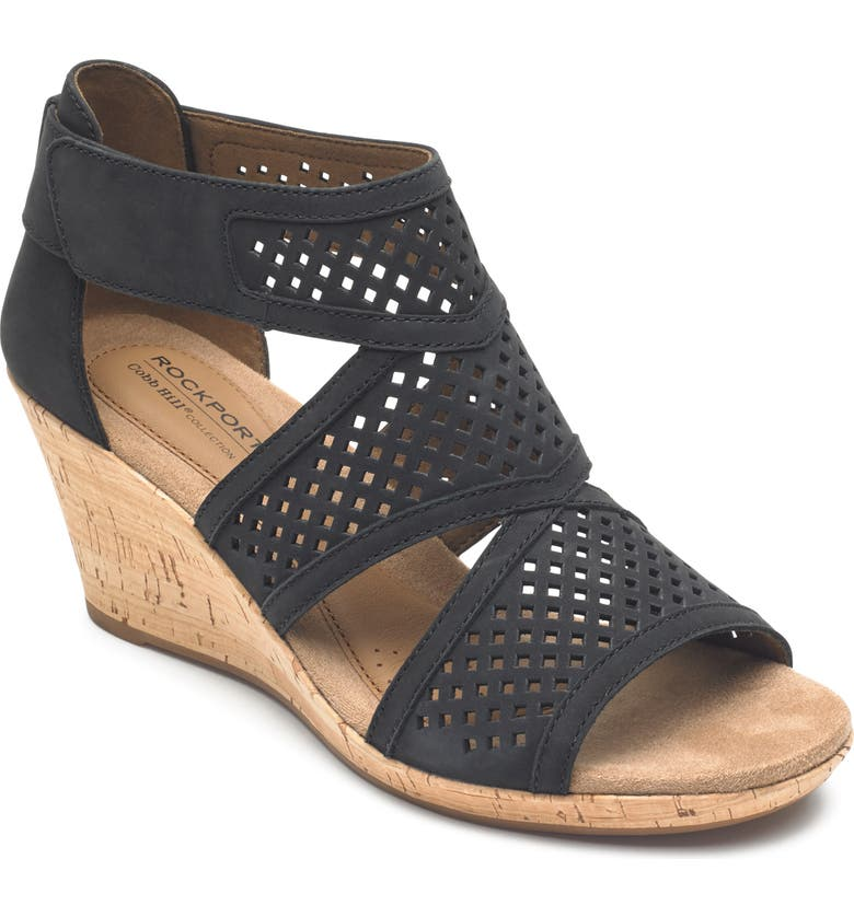 ROCKPORT COBB HILL Janna Wedge Sandal, Main, color, BLACK NUBUCK LEATHER