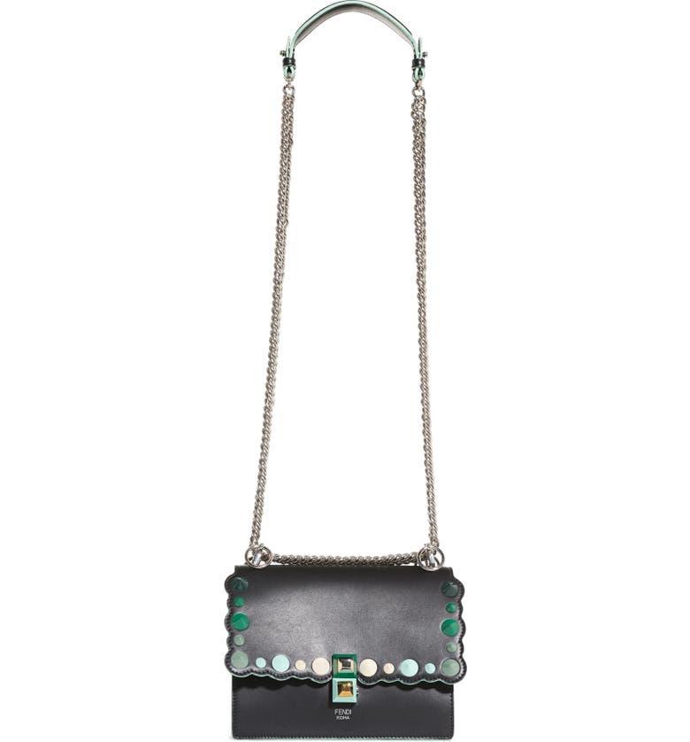FENDI Mini Kan I Dégradé Stud Calfskin Shoulder Bag, Main, color, 992