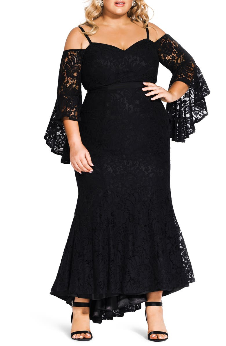 CITY CHIC Mesmerize Lace Maxi Dress, Main, color, 001