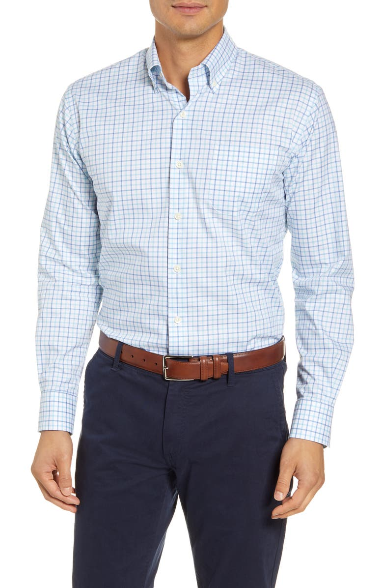 PETER MILLAR Emory Regular Fit Tattersall Check Button-Down Shirt, Main, color, LAKE BLUE