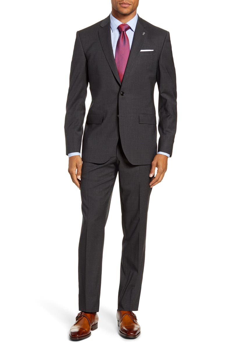 TED BAKER LONDON Jay Trim Fit Check Stretch Wool Suit, Main, color, 020