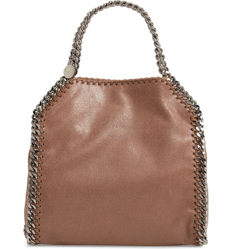 STELLA MCCARTNEY 'Mini Falabella - Shaggy Deer' Faux Leather Tote, Main, color, DARK TAUPE